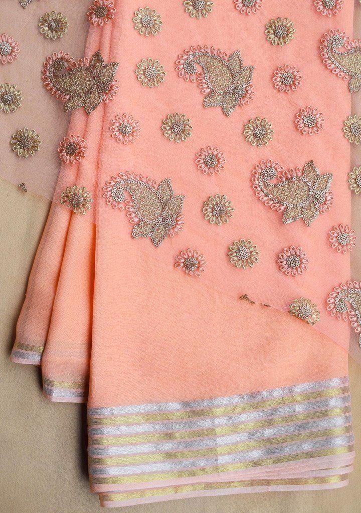a42179a4545b2c Peach Georgette saree with net blouse piece   saree   Net blouses ...