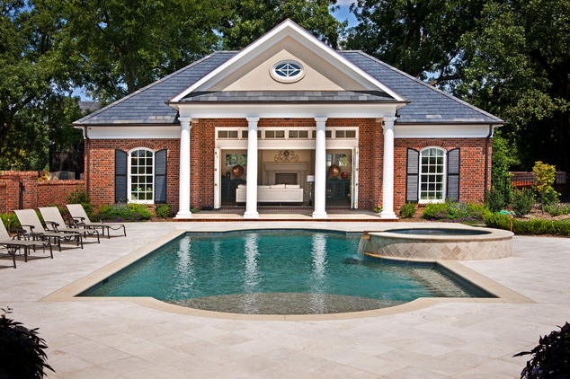 Brick Colonial Traditional Pool House Pool House Pool Houses