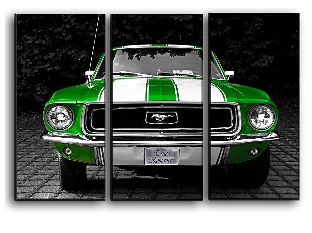 Picture Set Green Ford Mustang Wall Art Decor Picture Painting Poster Print On 3 Canvas Panels Pieces Muscle Car Themed Bedrooms Picture Wall Wall Art Decor