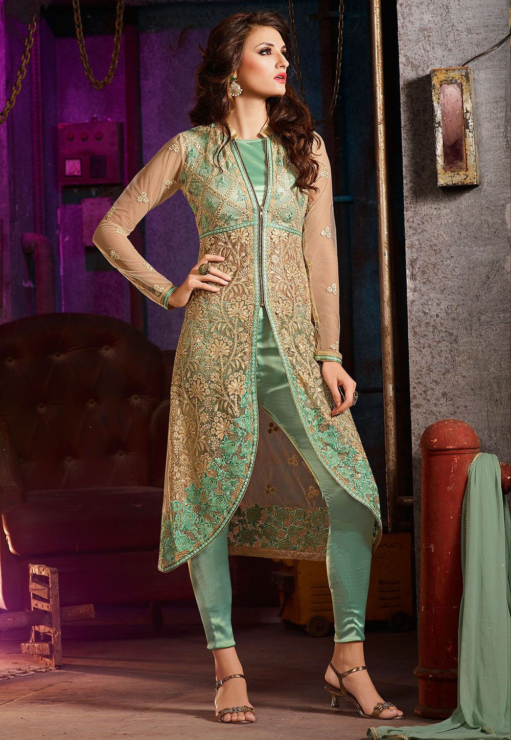 408d777e7e Embroidered Net Jacket Style Pakistani Suit in Green and Beige ...