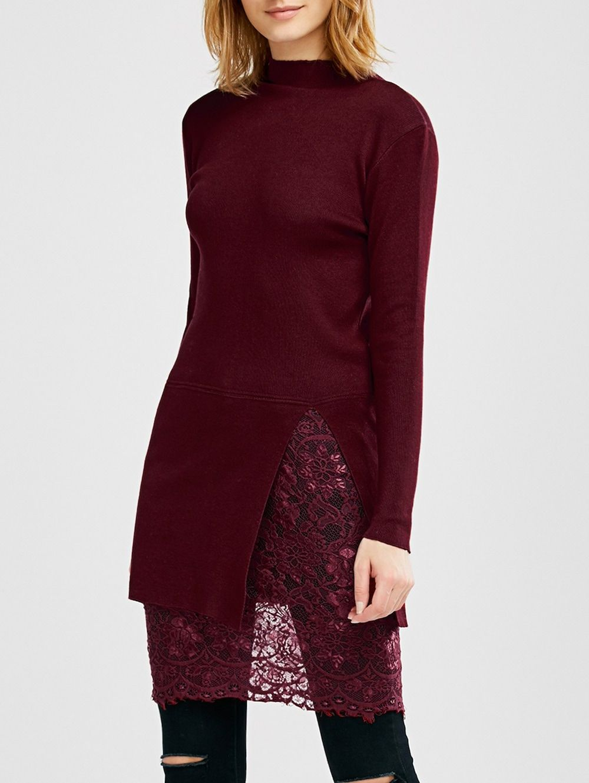 High neck slit lace insert jumper dress lace insert jumper dress