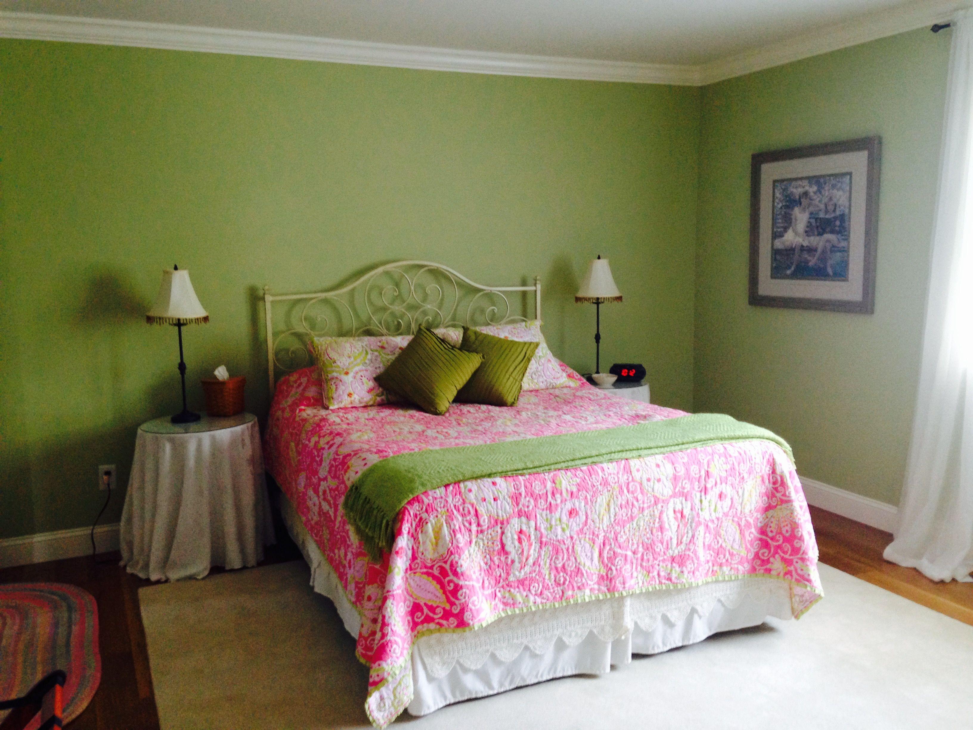Guest Room 2 View 3 Paint Benjamin Moore Peaceful Garden Csp 830 Headboard From Pier 1