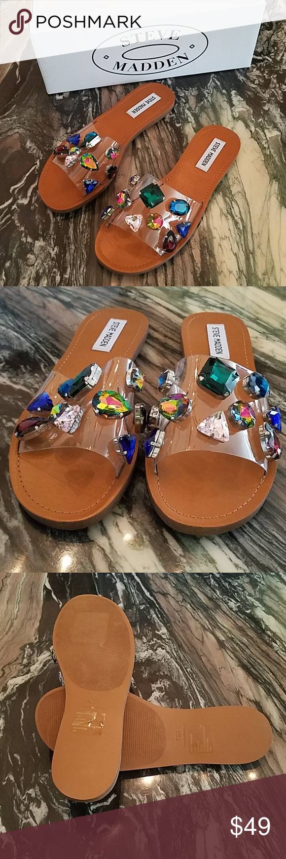 541b9a9cb30 Steve Madden Rosalyn Clear Jeweled Sandals Super fun and Stylish ...