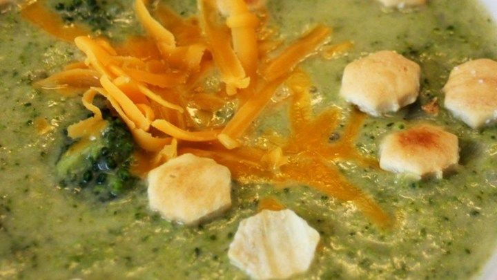 Half of the blanched broccoli in this recipe is pureed and added to a creamy broth, while the other half is roughly chopped and folded into the soup base with a dash of nutmeg.  Serve garnished with grated cheddar cheese.
