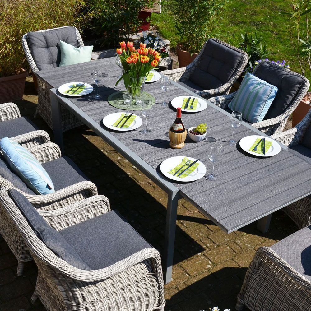 Essgruppe Neapel Tisch Verlangerbar 170 255x100cm 8 Sessel Grau Polster Grau Aussenmobel Sessel Grau Sessel