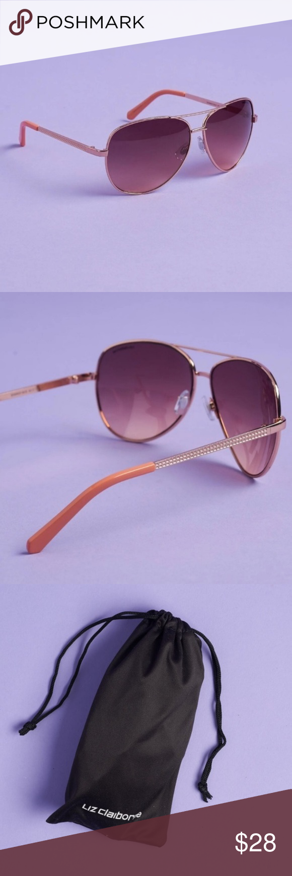 bc31fef689 Brown to pink gradient lenses. Rose gold frames. Never worn and new in bag.  Style  Sloan Liz Claiborne Accessories Sunglasses