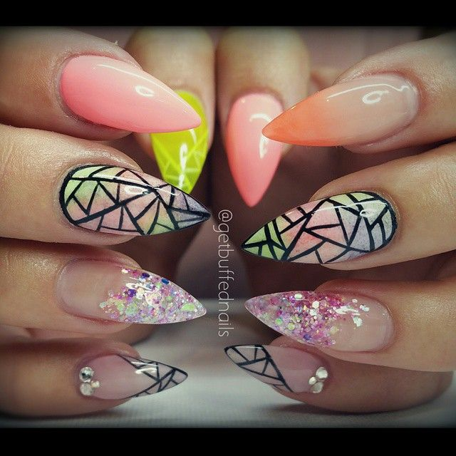 Instagram media by getbuffednails - #prettynails for #pretty @ladysparrow_8 ❤ #nailart #handpainted #longnails #pointynails #nailprodigy #nailartdesigns #notd #instanails #ignails #nailswag #nailgamestrong #melbournenailart #peachfade #ombrè #nails #glitter from @glitter_heaven_australia #gellyfit #gelpolish from @gellyfitaustralia