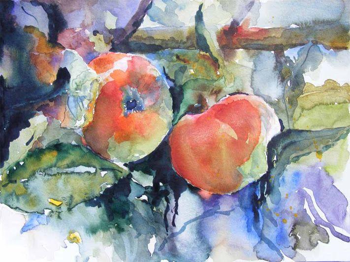 Aquarelle und andere Bilder von Frank Koebsch - Apfelblüten (c) Miniatur in Aquarell von Frank Koebsch