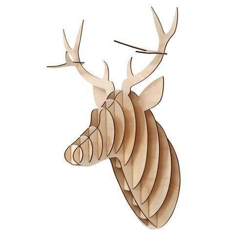 T te de cerf troph e en bois naturel d coration murale cuisine maison troph es for Tete de chevreuil decoration