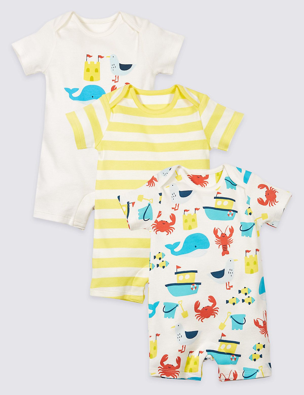 3 Pack Sea Life Pure Cotton Rompers | Rompers, Clothes ...
