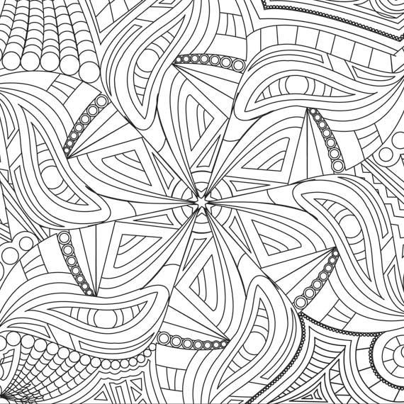 Kaleidoscope Coloring Page Design to Color Coloring Print Color
