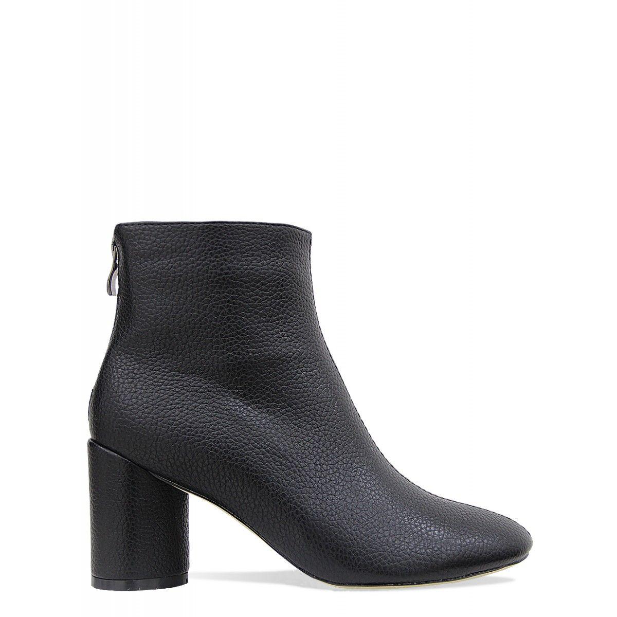 Vanessa Black Block Heel Ankle Boots : Simmi Shoes