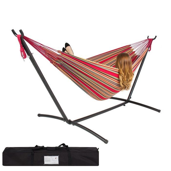 Double Hammock With Space Saving Steel Stand Includes Portable
