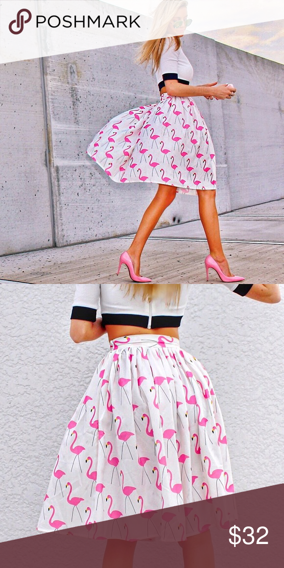 "High Waisted Flamingo Midi-Skirt Sz S 🎀 Worn once for photos, like new! 💖✨ Size small, 0-2 size. 100% Polyester Small - 26"" waist 