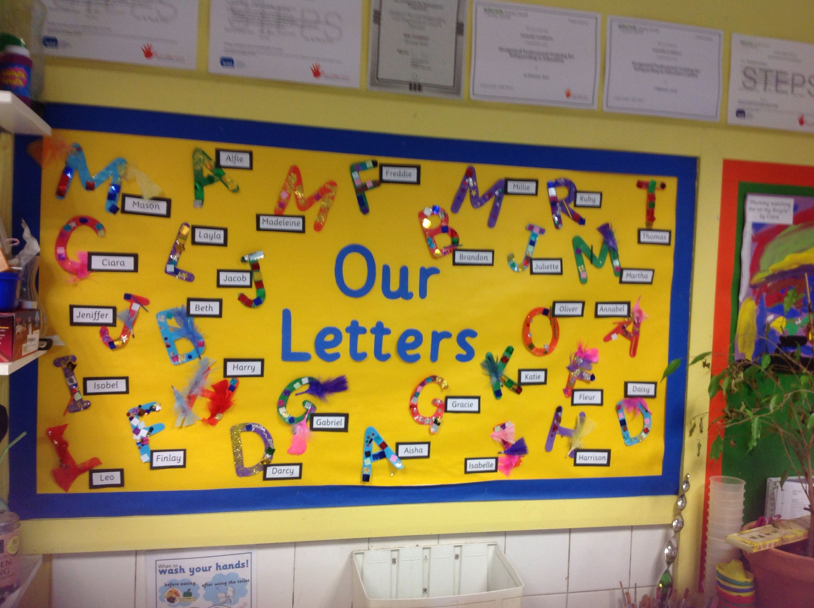 Display Showing Our Initial Letters Which We Decorated