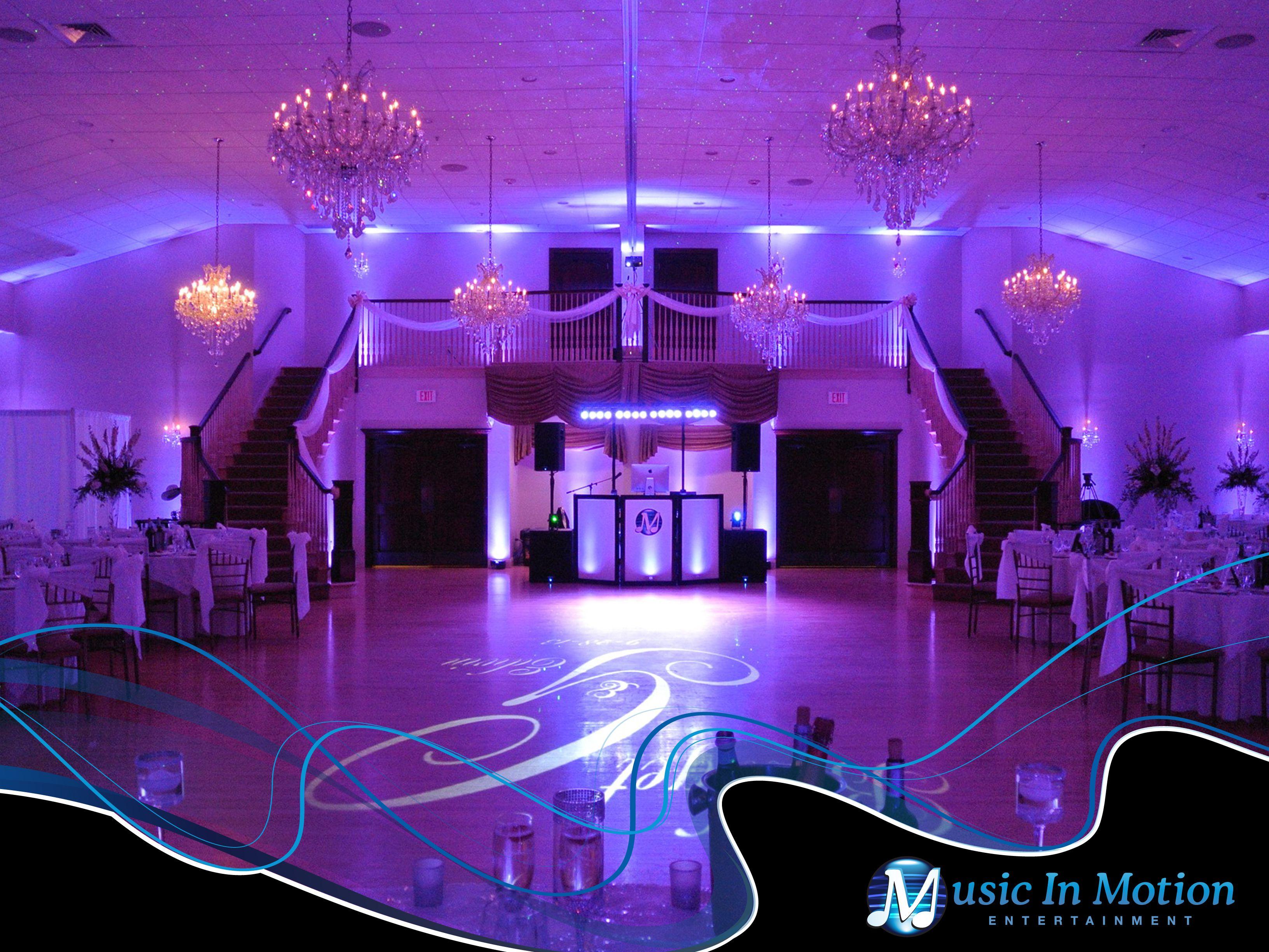 Cascade Of Hamden Ct With Extraordinary Lighting By Music In Motion Wedding Dj Setup Wedding Lights Wedding Dj