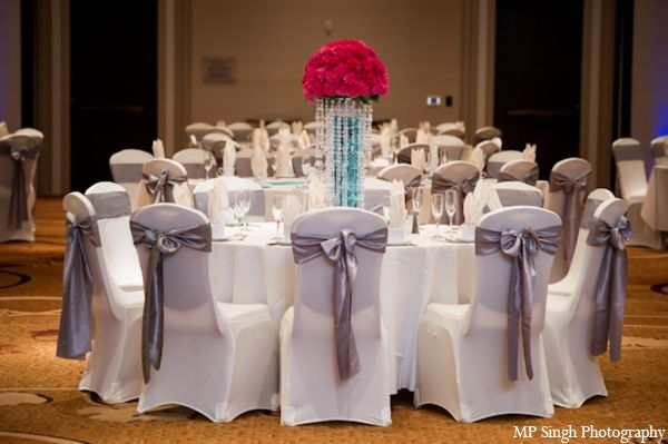 Indian Wedding Reception White Table Cloth Chairs