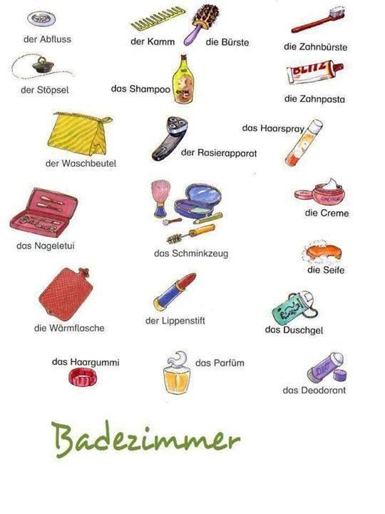 Badezimmer With Images German Language Learning Learn German German Grammar