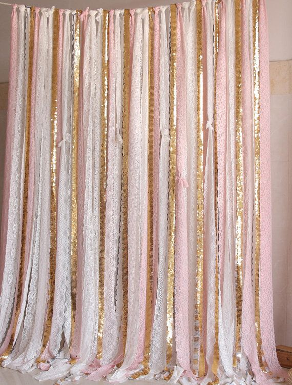 Pink White Lace Gold Sparkle Photobooth Backdrop Wedding Fabric Backdrop Wedding Photo Booth Backdrop Wedding White Lace Fabric