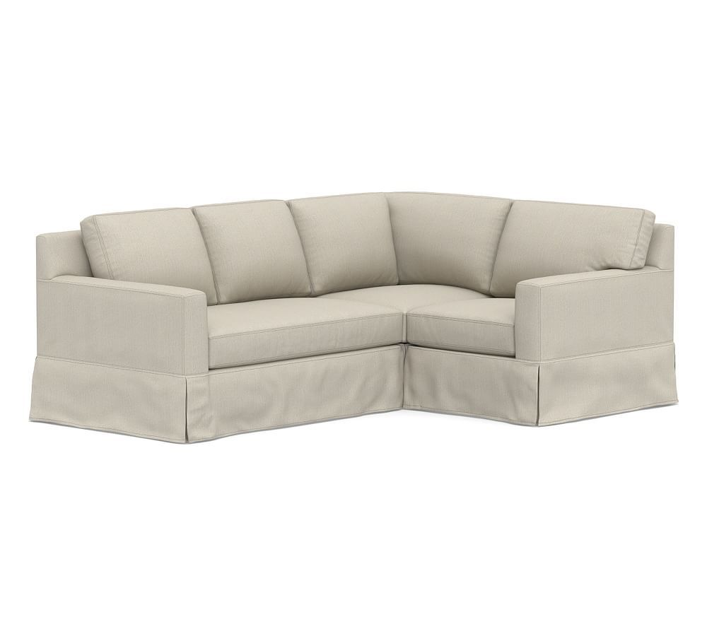 York Square Arm Slipcovered 3 Piece Corner Sectional With Bench Cushion Corner Sectional Sectional Slipcover Slipcovers