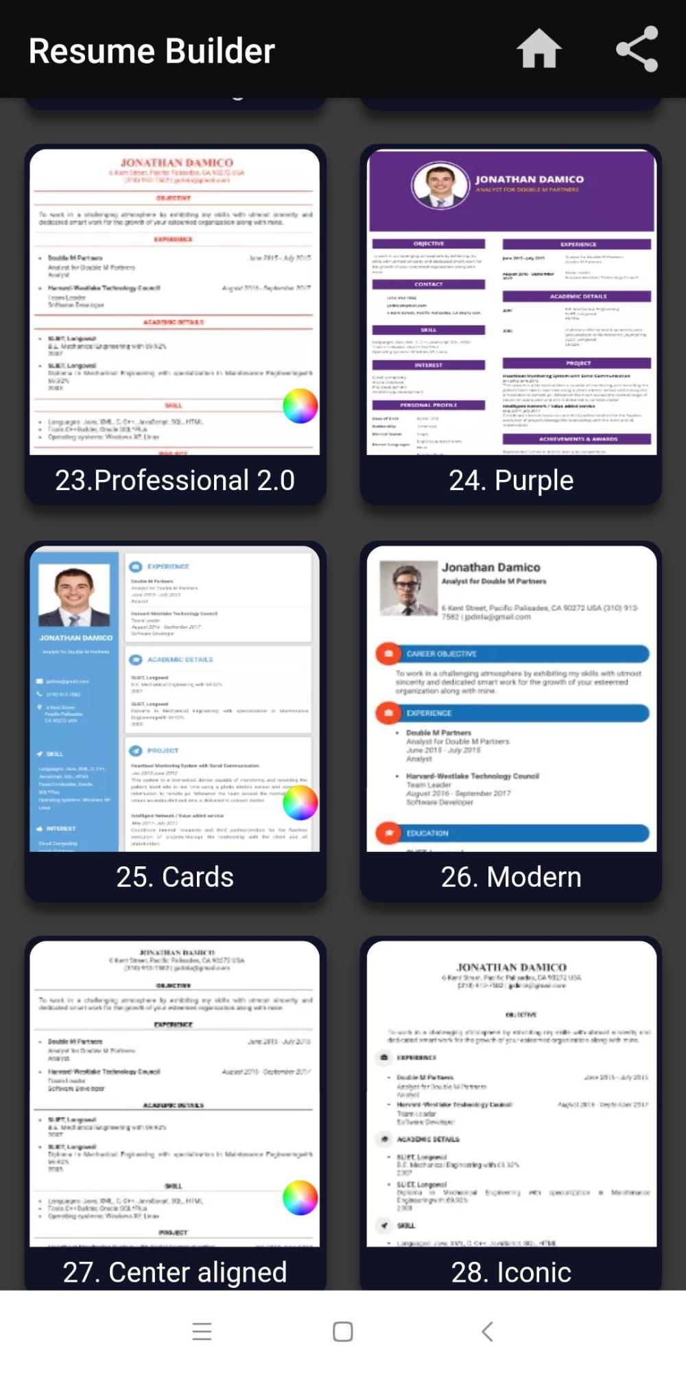 Resume Templates App (7 di 2020