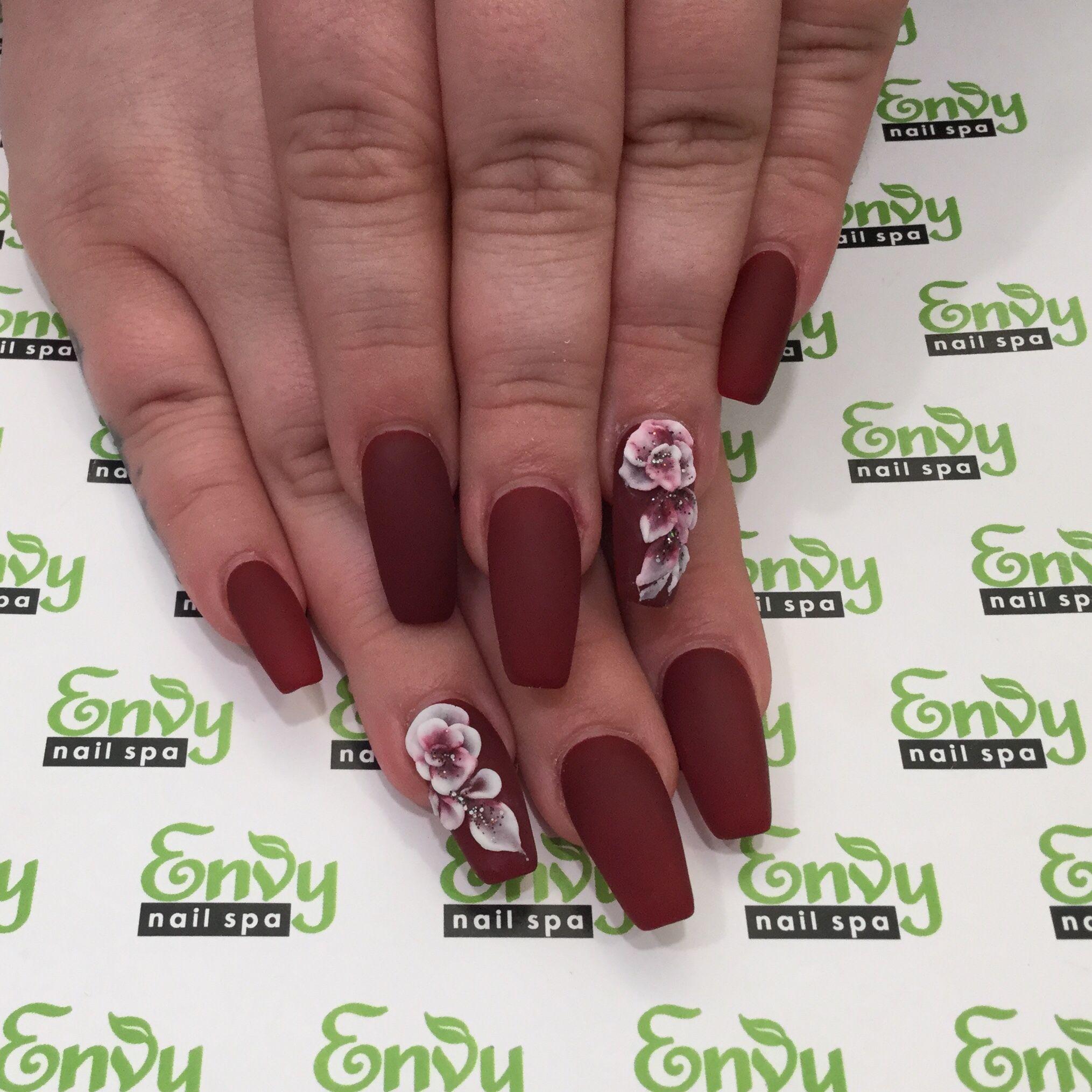 Envy Nail Spa At Your Finger Tips Bride Nails 3d Flower Nails Burgundy Nails