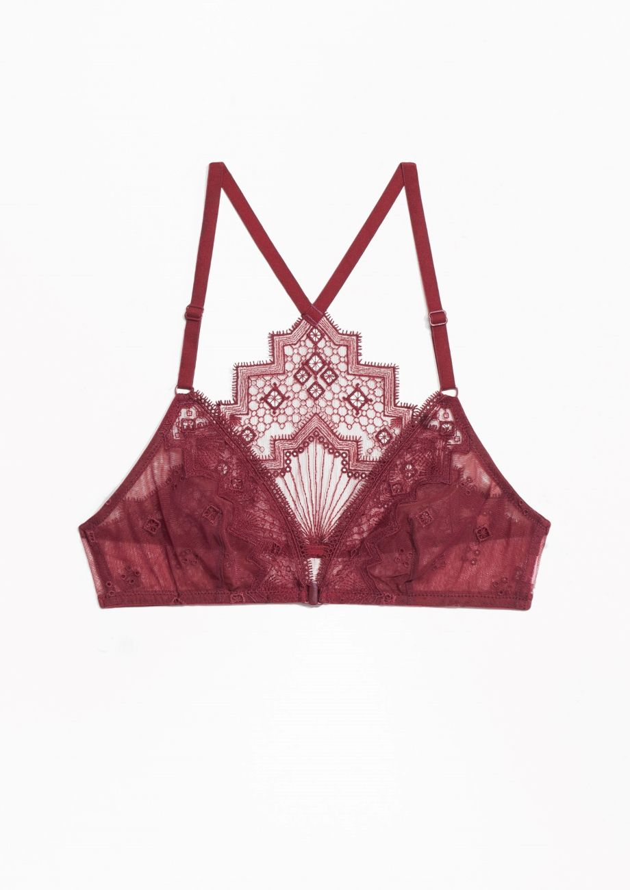 55995aa69a3   Other Stories image 1 of Embroidery Soft Bra in Red Dark ...