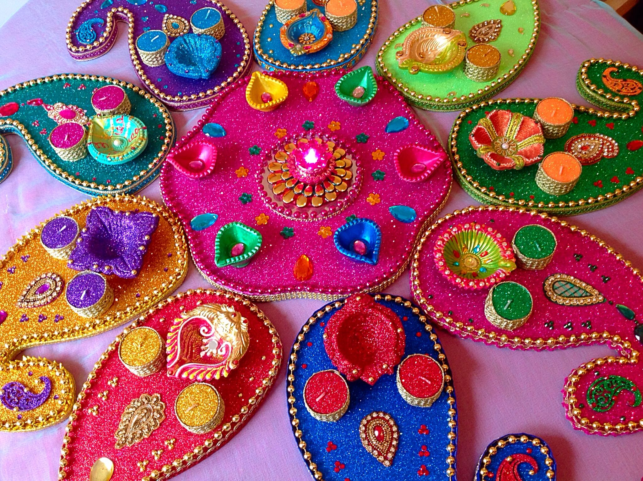 Mehndi Party Trays : Beautiful multi coloured mehndi plates see my facebook page