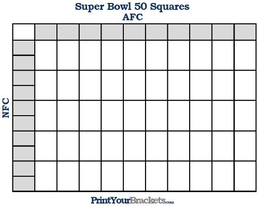 Printable Super Bowl Squares 50 Grid Office Pool Super Bowl - foot ball square template