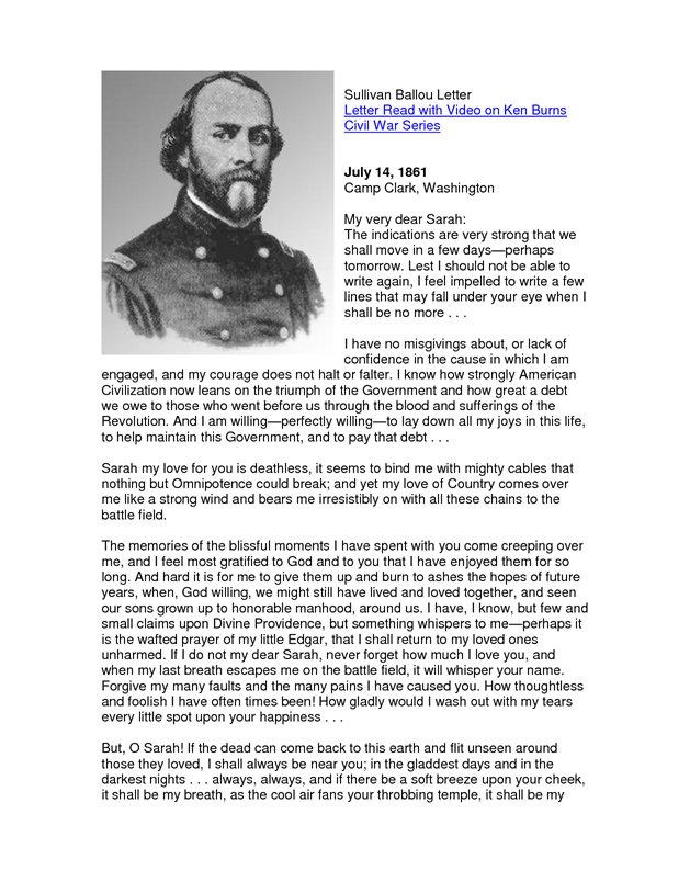 sullivan ballou letter sullivan ballou letter to his one of the 852