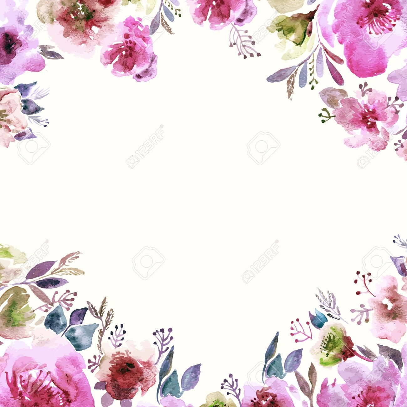 34095950-Floral-background-Watercolor-floral-bouquet-Birthday-card-Floral-decorative-frame--Stock-Vector.jpg (1300×1300)