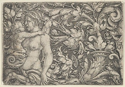 Horizontal Panel with Triton and Child Surrounded by Foliage (c.1525)
