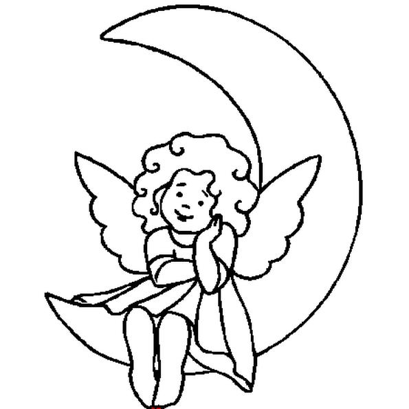 L Ange De Noel Du Dessin Est Se Repose Assis Sur La Lune L Ange Se