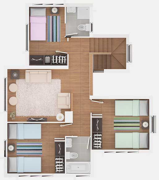 Planos De Casa Estilo Mediterranea De 139m2 Y 2 Pisos Planos De Casas Casa Estilo Plano De Casa Moderna