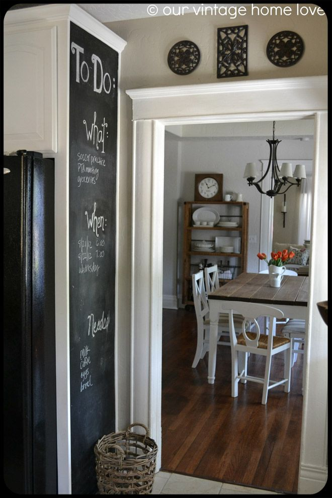 I Ve Been Thinking Of Doing A Long Cabinet Panel Chalkboard Like This In My Kitchen Our Vintage Home Love Home Remodeling Home Home Decor