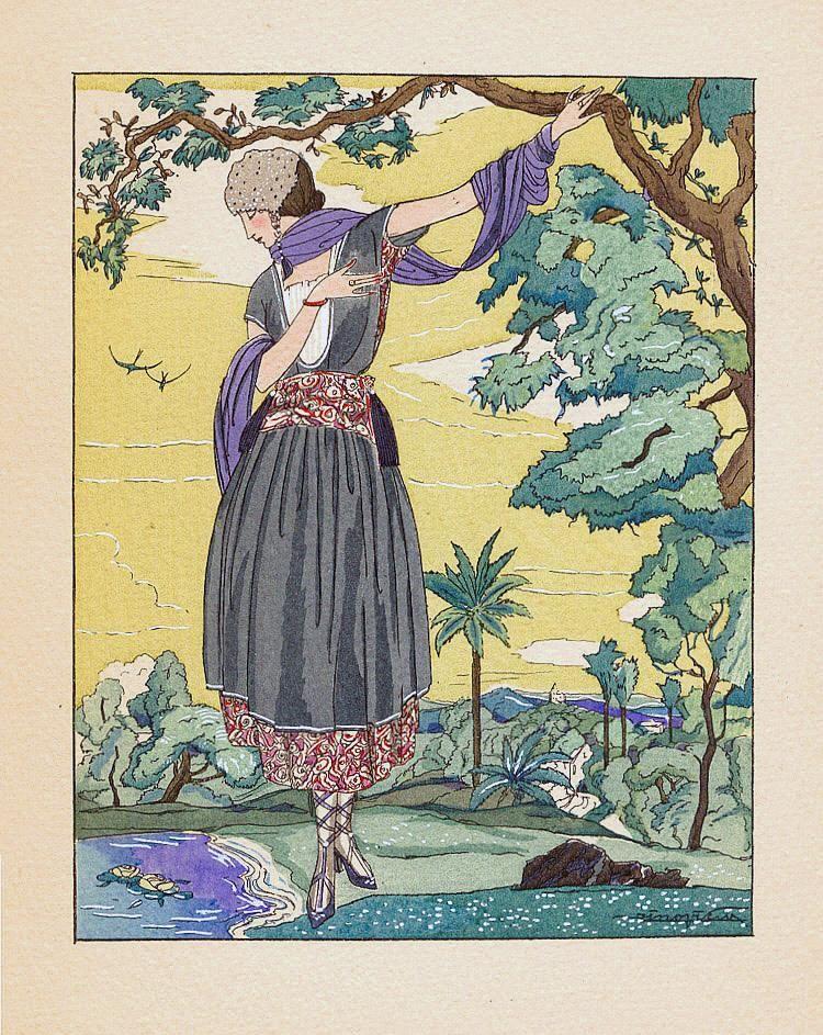 Women Old Postcard   Retro illustration #Vintage #Romantic #Poster @deFharo