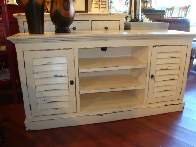 Shutter Plasma Tv Stand Cabinet Mahogany Wood Cottage Painted Distressed