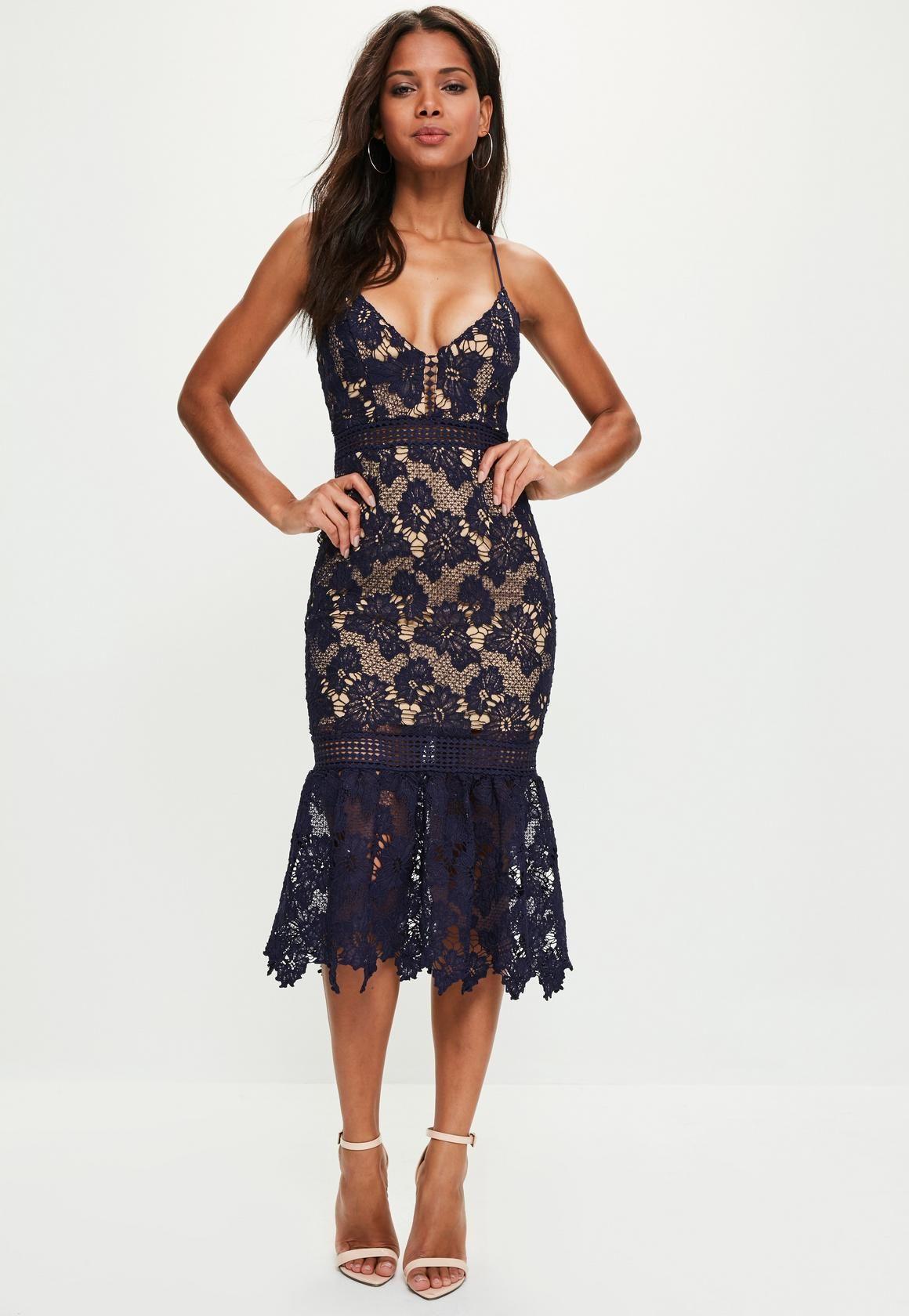 e66549d25abf Missguided - Navy Lace Strappy Fishtail Midi Dress   Wedding Board ...