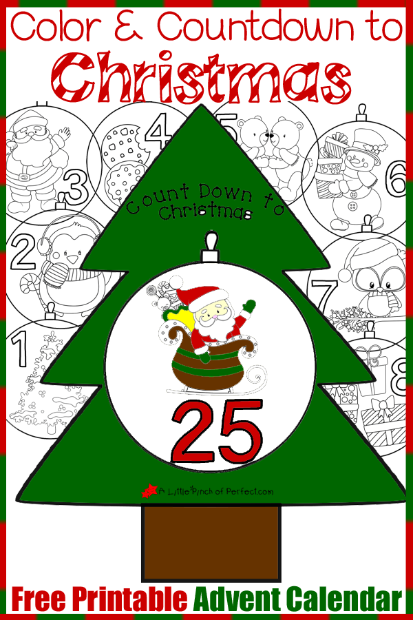 graphic regarding Christmas Countdown Printable identify Absolutely free Printable Arrival Calendar: Shade and Countdown in the direction of
