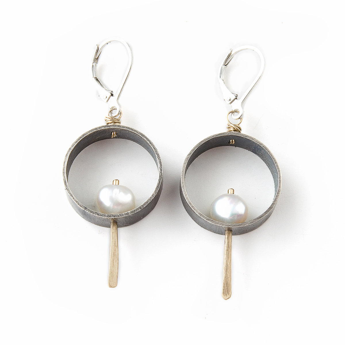 0d5077bb3 Juliet Circle Earrings with 18K Gold and Pearls by Jackie Jordan (Gold,  Silver & Pearl Earrings) | Artful Home