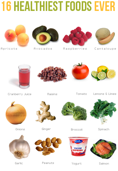 Healthy foods, not so sure about the cranberry juice  Make
