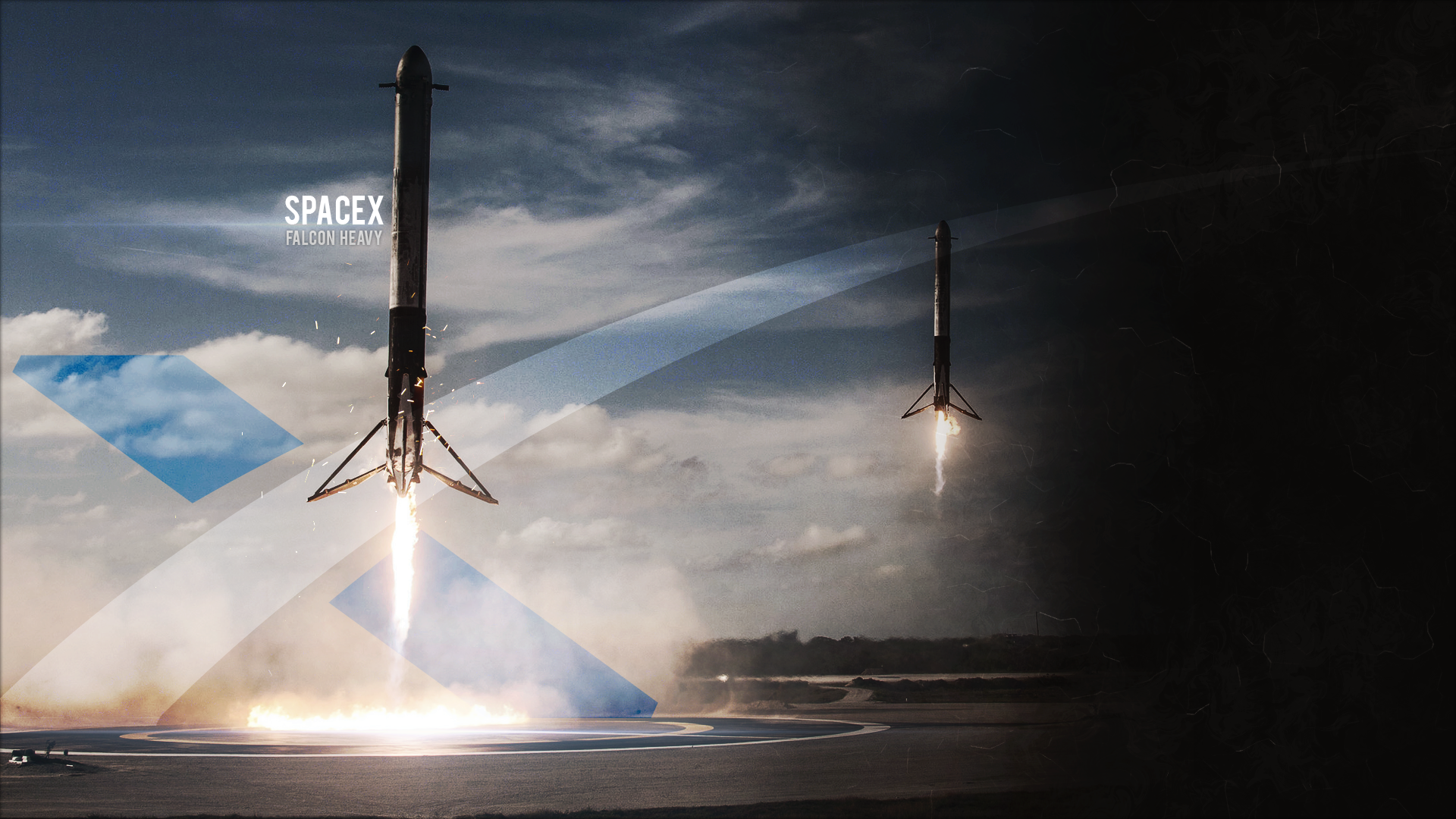 Wallpaper I Made Of The Falcon Heavy Side Boosters Landing 1920x1080