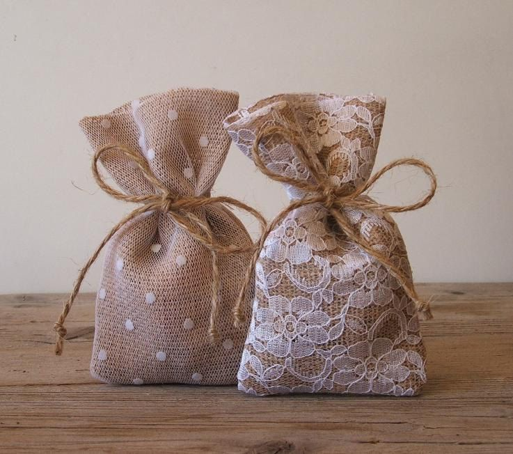 Favor bags: burlap with lace and patterned tulle overlays...darling!!