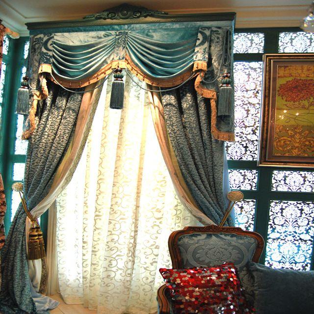 Moda tman 2014 qualidade chenille jacquard cortina de quarto de - cortinas azules