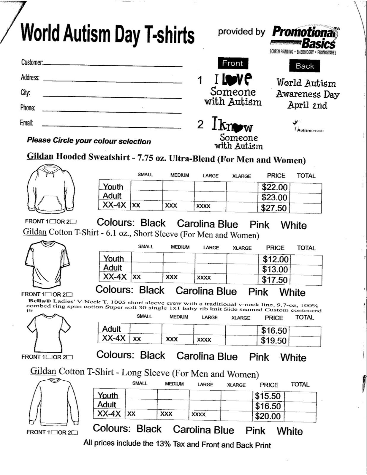 Spirit Wear Form  Pta    Spirit Wear Order Form And Pta