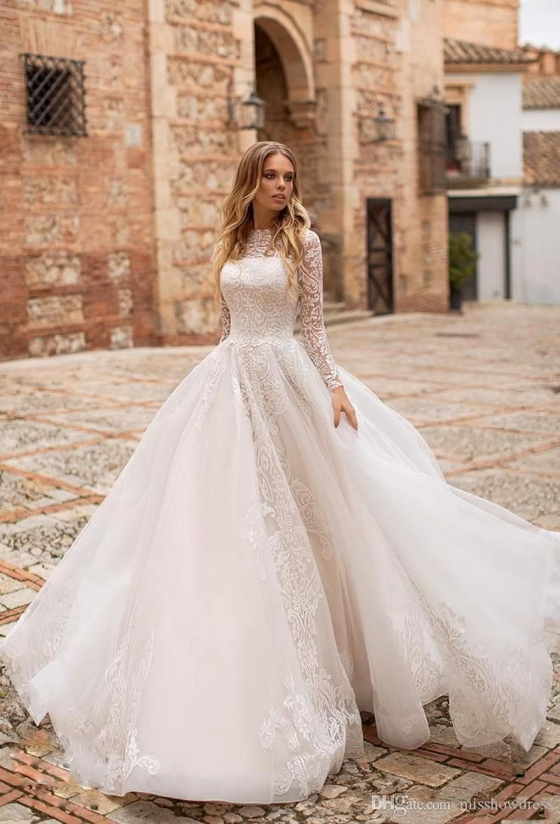 Discount 2019 Elegant Long Sleeves Lace A Line Wedding Dresses Tulle Lace Applique Sweep Train F Wedding Dresses Dream Wedding Dresses Wedding Dress Tulle Lace
