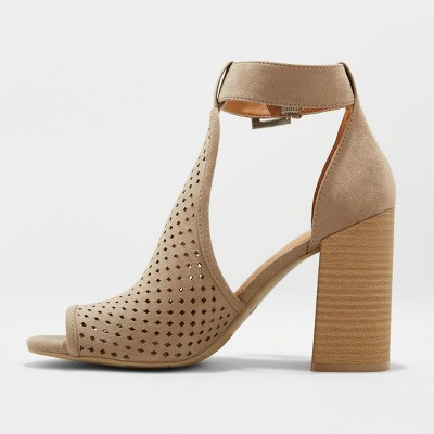 544b9e595c2a Women s Hannah Wide Width Laser Cut Heeled Pump Sandals - Universal Tread  Taupe (Brown) 8.5W