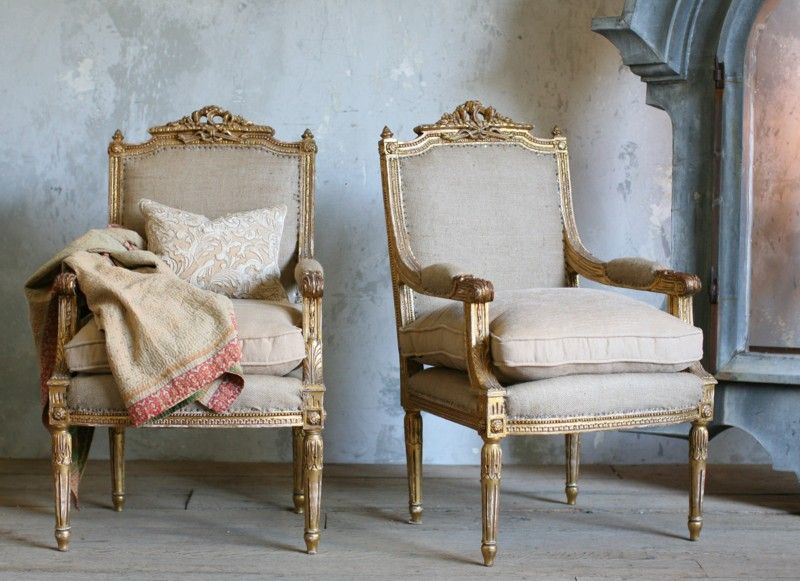 Sedie Stile Francese : Pair shabby louis xvi french style armchairs gilt vintage french