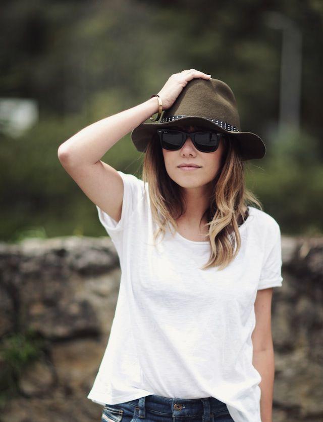 hat, sunnies, white tee