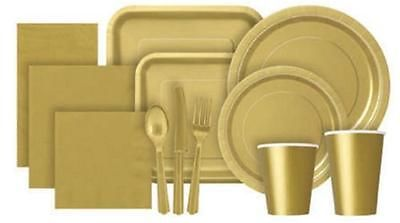 Gold Party Tableware Cups Plates Napkins Tablecovers Cutlery And